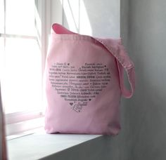 LOVE Languages Purse Tote Pink Canvas Bag by BucktoothedBunny