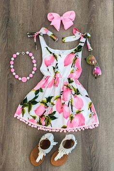 Pink Lemonade Dress - Sparkle in Pink Dresses Kids Girl, Little Girl Outfits, Cute Outfits For Kids, Little Girl Fashion, Toddler Girl Outfits, Toddler Dress, Kids Fashion, Girl Toddler, Fashion Clothes