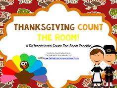 Thanksgiving Count The Room! A Common Core Math Freebie! Differentiated Kindergarten, Kindergarten Smorgasboard, Kindergarten Freebies, Preschool Math, Kindergarten Centers, Kindergarten Classroom, Literacy, Thanksgiving Classroom Activities, Fun Math Activities