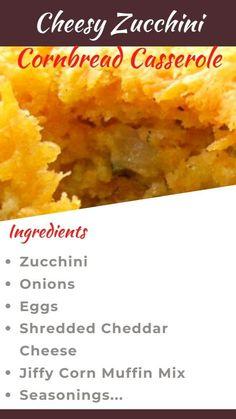 Cornbread Casserole, Casserole Dishes, Casserole Recipes, Crockpot Recipes, Jiffy Cornbread, Cooking Recipes, Yummy Zucchini Recipes, Vegetable Recipes, Zucchini Cornbread