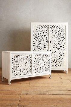 fancifully carved armoire and console Bathroom Furniture, Painted Furniture, Home Furniture, Furniture Design, Moroccan Decor, Decoration, Home Accessories, Sweet Home, Bedroom Decor