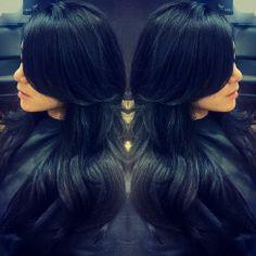 long black hair and layers Long Black Hair, Dark Hair, Kourtney Kardashian, Hair Laid, Hair Color Blue, Layered Haircuts, Great Hair, Hair Today, Hair Dos