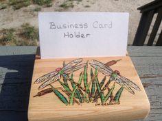 handmade wood burned cypress  Business Card by ADragonflysFancy, $9.00