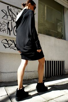 Black Sexy Drape Top / Asymmetrical Top / Casual by Aakasha, $63.00