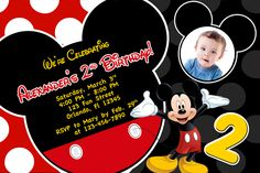 Mickey Mouse Clubhouse First Birthday Shower Party Custom Invitation