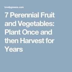7 Perennial Fruit and Vegetables: Plant Once and then Harvest for Years