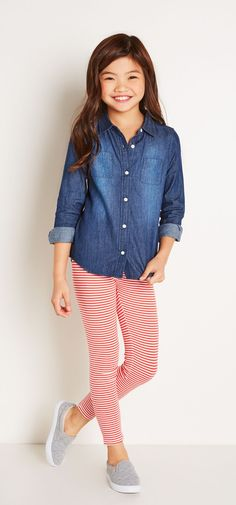 Be happy from head to toe in all-over stripes & our fave chambray.