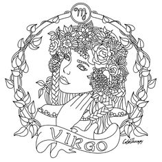 Virgo Zodiac beauty colouring page
