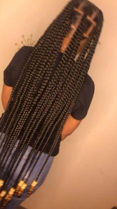 Single Braids Hairstyles, Box Braids Hairstyles For Black Women, Braids Hairstyles Pictures, African Braids Hairstyles, Braids For Black Hair, Box Braids Beads, Cornrows With Beads, Braids With Curls, Long Braids