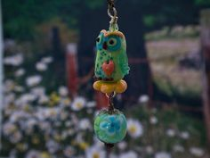 Lampwork owl bead pendant sra by DeniseAnnette on Etsy, $26.00