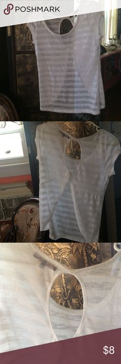 Almost Famous Semi-Sheer Top White, semi-sheer with an oval cutout in the back. In EUC. Almost Famous Tops Tees - Short Sleeve