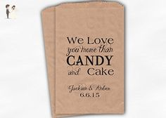 Love You More Than Candy and Cake Wedding Favor Bags for Candy Buffet in Black - Personalized Set of 25 Kraft Paper Bags (0142) - Wedding favors (*Amazon Partner-Link)