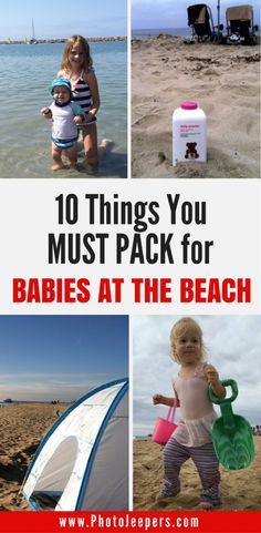 Here are our ten best tips for babies at the beach. This beach guide for babies includes dealing with a sandy toddler, keeping everyone happy, and our favorite beach products. Don't forget to save this to your vacation board! Traveling With Baby, Travel With Kids, Family Travel, Baby Travel, Toddler Travel, Group Travel, Packing List For Vacation, Travel Packing, Packing Tips