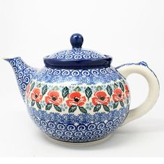 "6"" H x 6"" W x 9 3/4"" L - Quality 1 Guaranteed from the renowned Ceramika Artystyczna Boleslawiec - Polish Pottery is Oven, Microwave, and Dishwasher Safe! - Hand Painted and Stamped by Highly Skilled"
