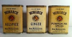 3 Rare Antique Advertising Monarch Allspice Ginger Pumpkin Pie Spice Tin
