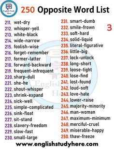 Education Discover 250 Opposite Word List - English Study Here Learn English Words English Vocabulary Words Learn English Grammar English Language Learning English Study Teaching English Academic Vocabulary English Antonyms English Verbs Opposite Words List, English Opposite Words, Learn English Words, English Study, English Word Meaning, Teaching English Grammar, English Writing Skills, English Vocabulary Words, English Language Learning