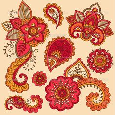 Henna Doodle Mehndi Tattoo Colorful Vector Design Elements by blue67 - Imagen vectorial