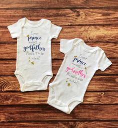 What a perfect way to pop the question to the godparents to be! 'Every prince needs a godfather,would you be mines?' 'Every prince needs a godmother,would you be mines?' Available in sizes Newborn through 24 months. Visit my shop... https://www.etsy.com/shop/SBayouCreations?ref=hdr_shop_menu #prince #godparent #godparents #godmother #godfather #godparentsonesies #godparentonesie #godparentannouncement #announcementonesie #baby #newborn #onesie #onesies #bodysuit #southernbayoucreations