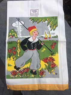 Vintage ArtMart Linen Cotton Kitchen Towel Dutchboy Fisherman Holland UNUSED  | eBay