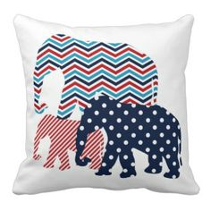 Red, White, and Blue Elephants Throw Pillow Elephant Throw Pillow, Chevron Throw Pillows, Wedding Pillows, Textiles, How To Make Pillows, Blue Chevron, Perfect Pillow, Custom Pillows, Home Textile