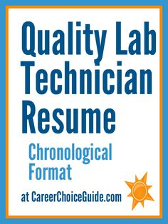 Quality Assurance Lab Tech sample resume