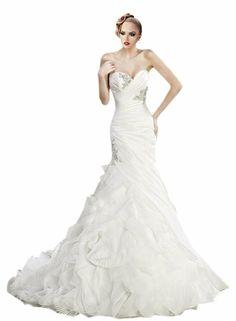 ZHUOLAN White Strapless Mermaid Gown in Tiered Satin Wedding Dress