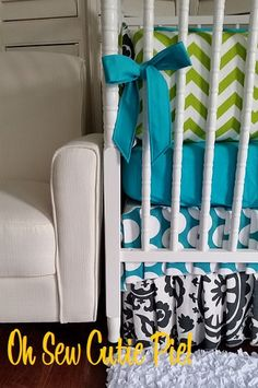 Lime Teal Black and White  Boho Chic Uptown Girl by OhSewCutiePie