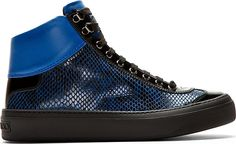 Jimmy Choo: Blue Snakeskin Argyle High-Top Sneakers