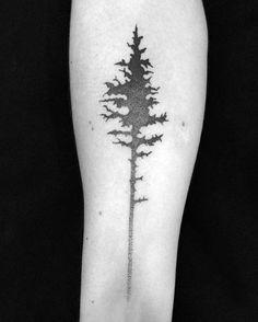 Inner Forearm Shaded Black And Grey Mens Small Tree Tattoo