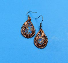 Unique Earrings for Girlfriend Gift, Woven Earrings, Copper Wire Earrings, Handmade Wire Earrings, Unique Wire Wrap, Woven Wire Jewelry