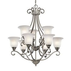 Kichler Lighting 43226NI Camerena 9 Light Chandelier This Kichler Lighting item has a brushed nickel finish. For use with nine 100-watt frosted incandes…