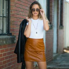 Fall With Me Camel Leather Skirt From Cousin Couture. New Years Outfit, Boutique Clothing, Camel, Leather Skirt, Brown Leather, Winter Fashion, Couture, Street Fashion, Skirts