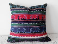 Multicolor Hmong Ethnic Cotton Pillow Cover, Tribal Throw Pillow Case, Handspun Hill Tribe Textile Applique Pillow Cover by HillTribesTreasures on Etsy