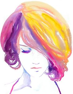Watercolor Print, Print of Watercolor Fashion Illustration. Titled: Jaune. $100.00, via Etsy.
