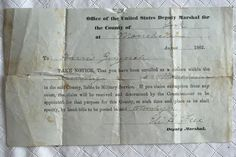 1862 draft notice for a man from Manchester Township.