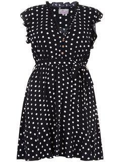 Marineblaues Kleid mit Tupfen-Print