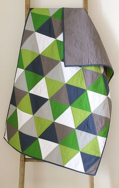 navy and green equilateral triangle quilt by CB Handmade, Erica Sage
