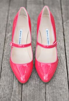 Pink Manolo Blahnik Mary Janes - Fabulous Wedding Shoes
