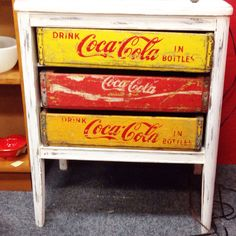 FOUND THIS Awesome Repurposed / Upcycled Desk made with Vintage Coca Cola Crates ! ..... Very Cool ! ..... If you like Shopping & Hunting Flea Markets & Antiques Download the FLEATIQUE APP for IPhone 5 - 5c - 5s & IPhone 6 on the Apple App Store ..... vintage repurposing fleamarket flea market flip antique soda pop cocacola retro interior design home style decor country living American pickers junk Junkin junk gypsy gypsies shabby chic primitive primitives roadshow folk art