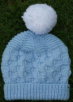 A simple and cute hat suitable for a novice knitter. Designed to match and use up left over yarn from the Bunny in a Basket blanket. Baby Hat Knitting Patterns Free, Baby Hat Patterns, Baby Hats Knitting, Knitted Hats, Crochet Hats, Free Pattern, Cute Hats, Bunny, Simple