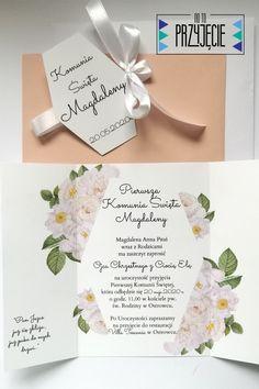 Bogato zdobione kwiatami zaproszenie komunijne z motywem białej róży. Place Cards, Place Card Holders