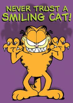 a smiling Garfield