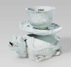 A dragon tortoise-form stand with cup-form reservoir, Joseon Dynasty, 19th century