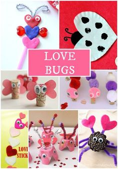 Love Bug crafts for Valentine's Day. These are super cute and would make a fun school party craft or play date craft for Valentine's day parties.