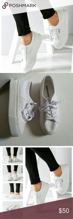 "Superga 2790 Linea Platform Sneaker Sporty style, 90's inspired platform sneakers from Superga. Low profile lace up cotton canvas upper propped on chunky rubber platform sole with a logo tab at side and a vulcanized rubber outsole.  Platform height 1.5""  Worn once. Very clean for being white. Superga Shoes Sneakers"