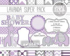 Fondos Papel Digital Lavanda, Morado, Lila, Violeta y Gris elefante jirafa marcos bandas chevron para invitaciones imprimiblesbaby shower