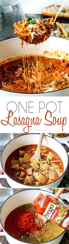 Try w real sauce Easy One Pot Lasagna Soup tastes just like lasagna without all the layering or dishes! Simply brown your beef and dump in all ingredients and simmer away!