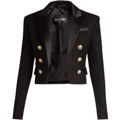 Balmain Satin-lapel cropped blazer (5567485 PYG) ❤ liked on Polyvore featuring outerwear, jackets, blazers, black, balmain, lapel blazer, shoulder pad blazers, satin lapel blazer and blazer jacket