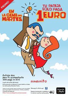 ¡En Muerde La Pasta en tu cena del martes tu pareja paga solo 1 euro!