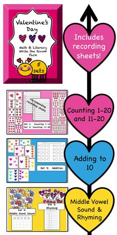 $ Valentine's Day Write the Room Pack:  includes 5 sets: counting 1-10, counting 11-20, adding to 10, middle vowel sound, & rhyming!  $